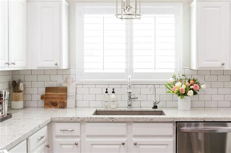 White Subway Tile Backsplash White Granite Kitchen Countertops With White Subway Tile Backsplash Transitional Kitchen