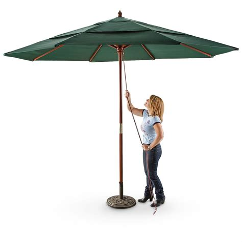 patio u brellas castlecreek 3 tier 11 umbrella 233708 patio umbrellas at sportsman s guide