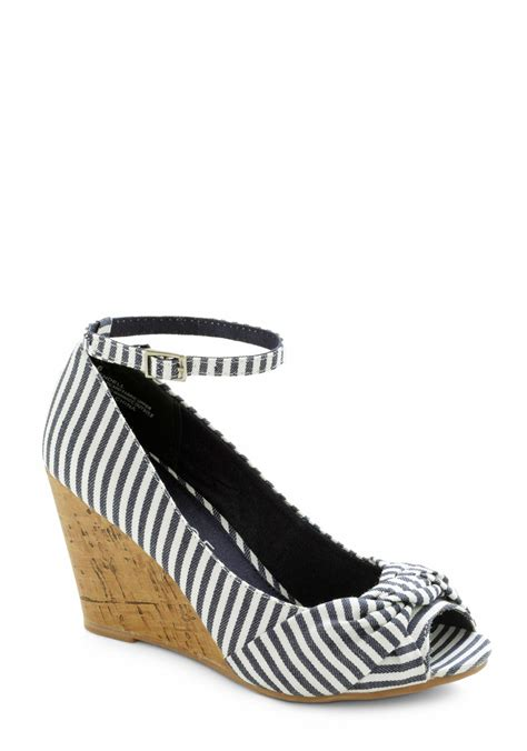 Erotokritos Blue And White Stripe Wedge by Work From Home Wedge Mod Retro Vintage Heels