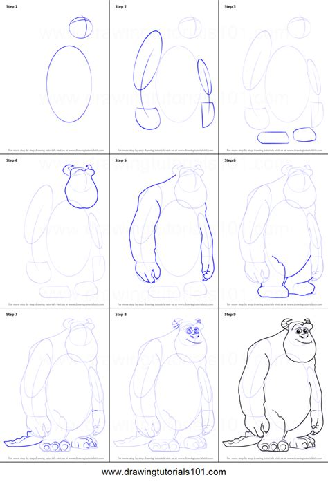 doodle drawings step by step how to draw p sullivan from monsters inc