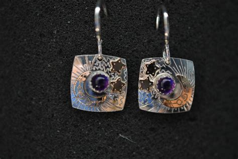 Handmade Semi Precious Jewelry - handmade sterling silver and 14k gold fill earrings with