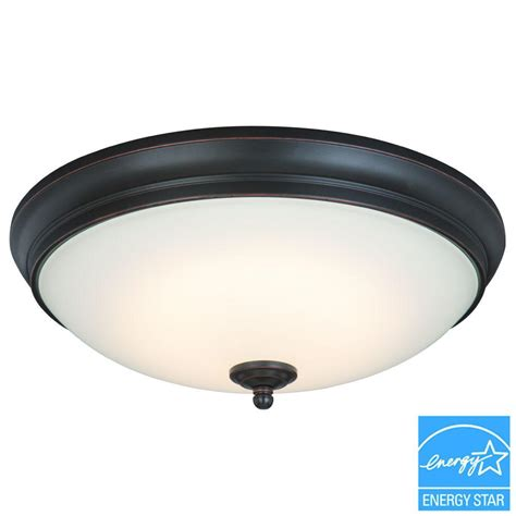 Commercial Electric Lighting Fixtures Commercial Electric Rubbed Bronze Led Flushmount Hui8011ll Orb The Home Depot
