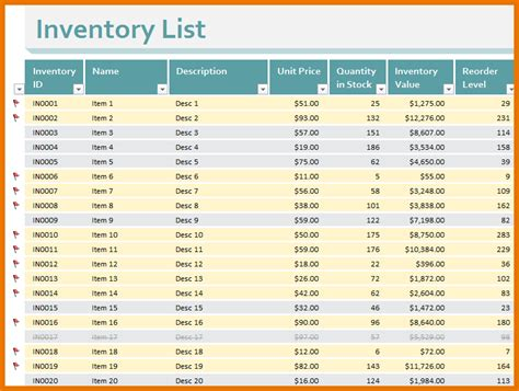 8 free inventory template itinerary template sample