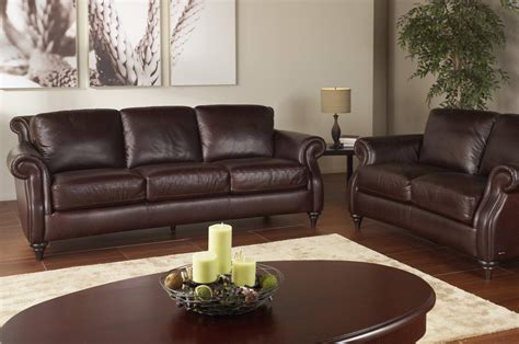 Natuzzi Leather Sofa And Loveseat Battista A297 Brown Sofa And Loveseat One Ten Home Furnishings