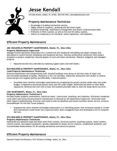 Sle Resume For Property Maintenance Manager Maintenance Resume Objective Exles Recentresumes