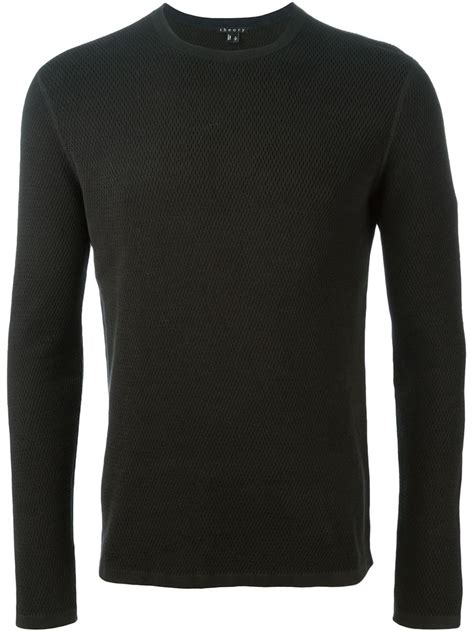Black Textured Sweater 26575 theory textured sweater in black for lyst