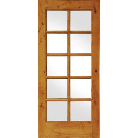 Prehung Interior Door With Glass Krosswood Doors 24 In X 80 In Knotty Alder 10 Lite Low E Insulated Glass Solid Right Wood