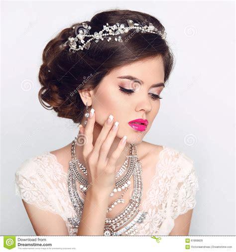 beautiful model with elegant hairstyle stock photo beauty fashion model girl with wedding elegant hairstyle
