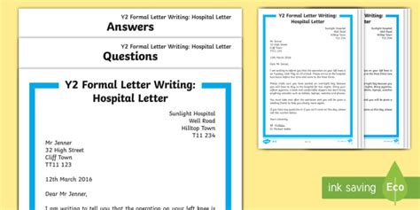 letter writing template y2 ks1 formal hospital letter differentiated reading