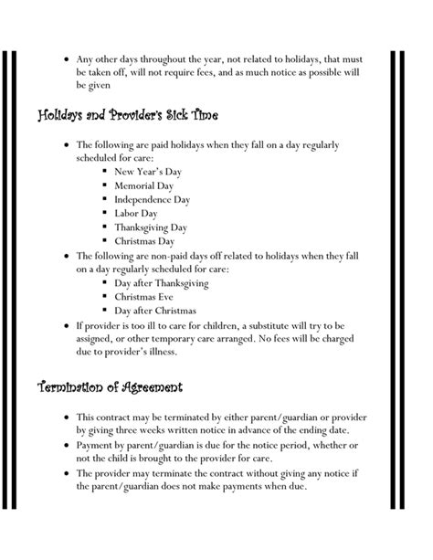 Exles Of Daycare Contracts by Home Daycare Contracts Daycare Exles By And Daycares