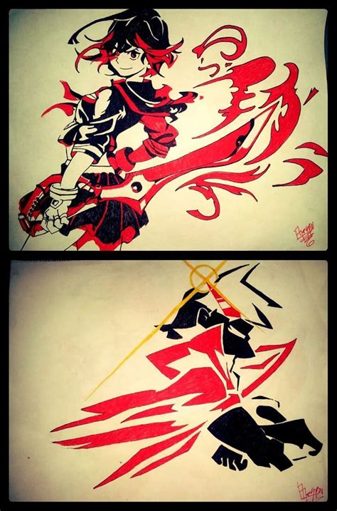 gurren lagann tattoo kamina and ryuko kill la kill and gurren lagann