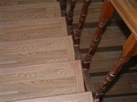 laminate flooring on stairs. Front and side bull nose