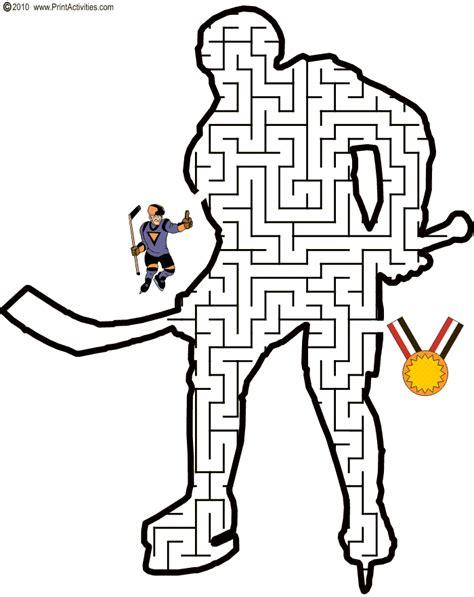printable hockey mazes hockey maze shaped like a hockey player