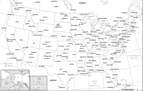 black and white map of usa with cities best photos of black and white united states map with