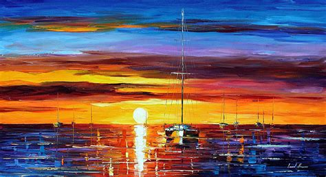 sunrise palette knife oil painting on canvas by