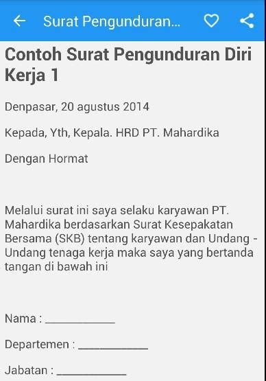 surat pengunduran diri resign android apps on play