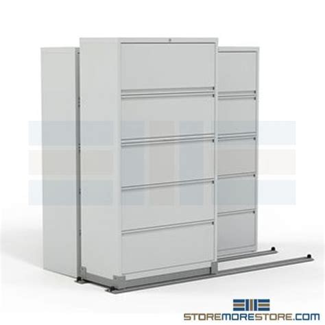 "2/1 Sliding Lateral Filing Cabinets on Rails   42"" Wide File Cabinet   File Cabinets On Tracks"