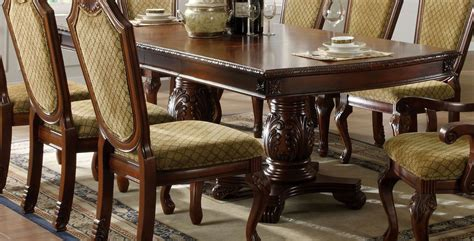 Napa Dining Table Napa Valley Cherry Rectangular Pedestals Dining Table From Furniture Of America