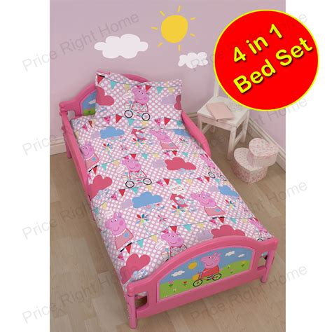 peppa pig bedroom sets peppa pig 4 in 1 junior cot bed bedding bundle set duvet