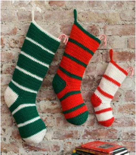 crochet pattern christmas stocking free simple striped santa stockings favecrafts com