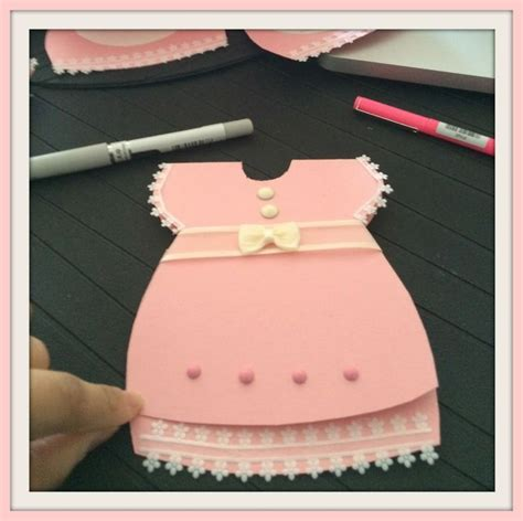 Make A Baby Shower Card by Learn How To Make A Baby Shower Dress Invitation Card