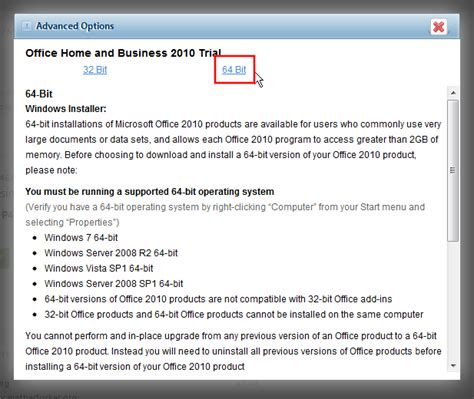 Microsoft Office 2010 Trial by How Can I Install The 64bit Version Of Ms Office 2010