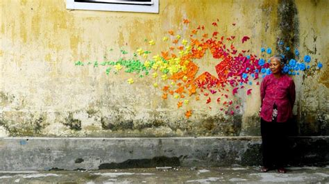 Origami Installation - origami installations on the streets of hong kong