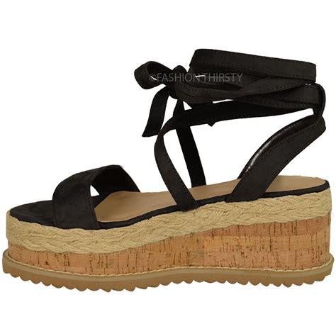 Wedges Heels Flat Shoes 16 womens flatform cork espadrille wedge sandals ankle