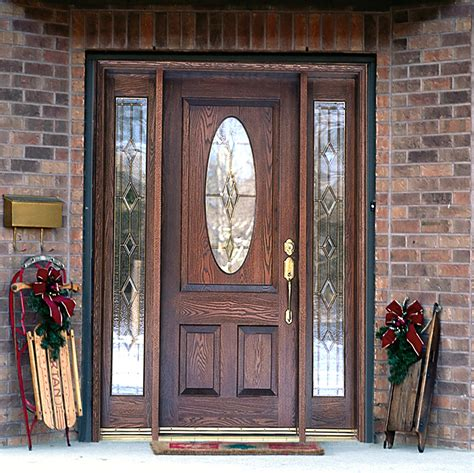 Furniture Alluring Wooden Front Doors With Glass For Front Door Glass Panels