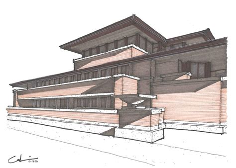 Frank Lloyd Wright Plans For Sale by Robie House Drawing By Calvin Durham