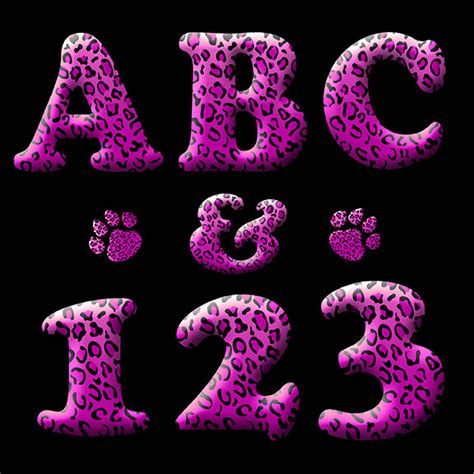printable neon letters animal print digital alphabet clipart printable hot pink