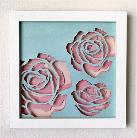 How To Make Layered Papercuts - framed multi layer roses cut paper wall by hvansick on