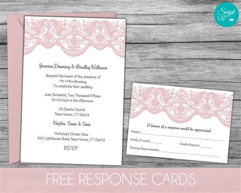Free Response Card Templates by Lace Wedding Invitation Template Free Response Card