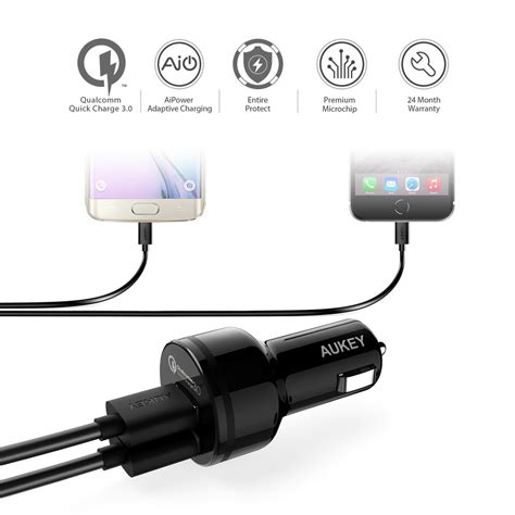 Aukey Charge 3 0 Car Charger With Dual Ports Mode Limited aukey car charger with dual port charge 3 0