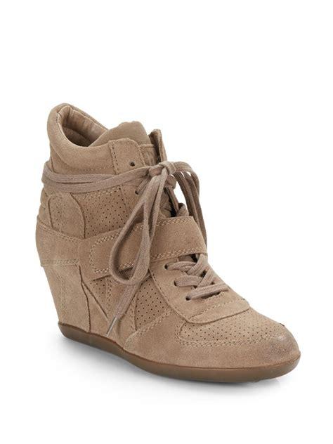 beige wedge sneakers ash bowie perforated suede wedge sneakers in beige