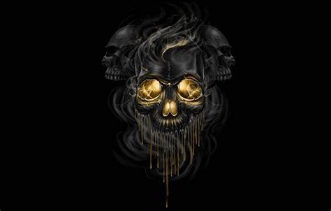 oboi fantastika dym art cherepa chernyy fon skelety