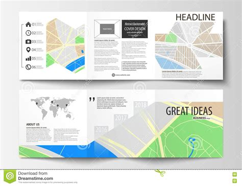 map layout and design set of business templates for square tri fold brochures