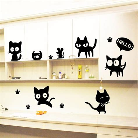 aliexpress wall stickers new black cats diy wall sticker removable wall decal for