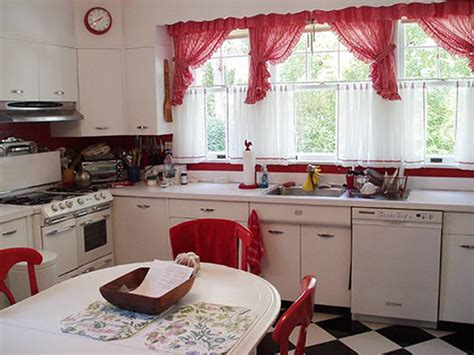 inspirational themes  red kitchen curtains interior