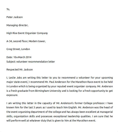 Recommendation Letter For A Student Volunteer Sle Letter Of Recommendation For College 10 Documents In Pdf Word