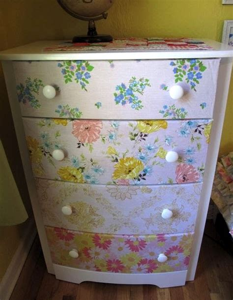 Decoupage Dresser With Fabric - dresser repurposed with vintage sheets mod podge rocks