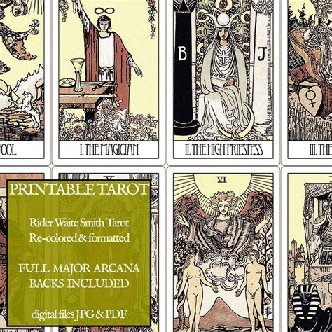 printable tarot cards to color pdf printable tarot cards rider waite major arcana
