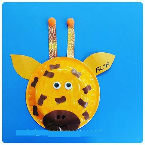 Giraffe Paper Plate Craft - preschool crafts and worksheets