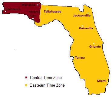 florida time zone map florida time zones timebie