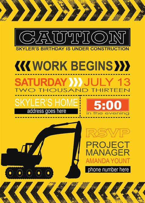 construction themed birthday invitations best 25 construction party supplies ideas on pinterest