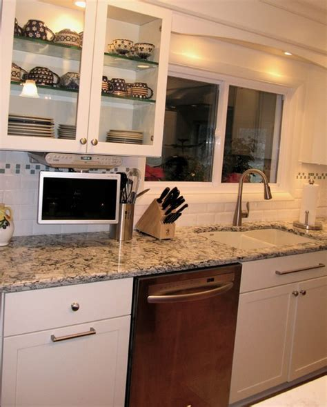 Kitchen Screen by Sink Area With Pull Flat Screen Tv Traditional