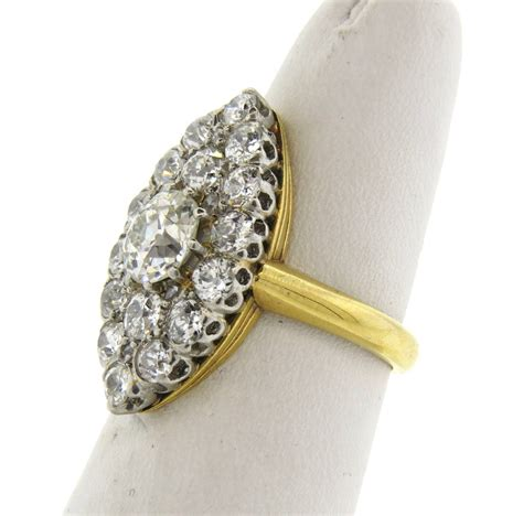 antique navette gold cocktail ring at