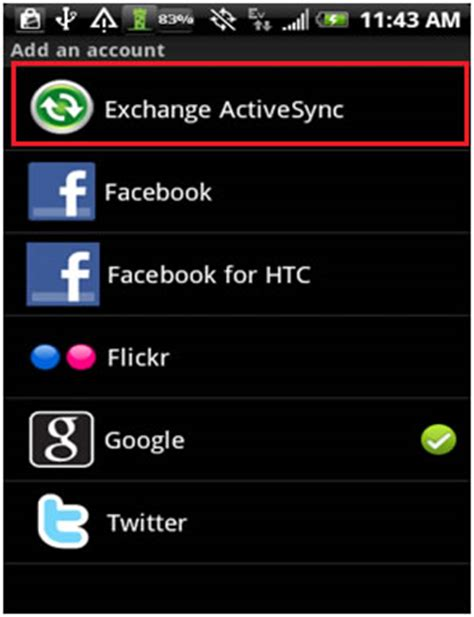 setup exchange email on android android device setup for microsoft exchange activesync with microsoft exchange server 2010