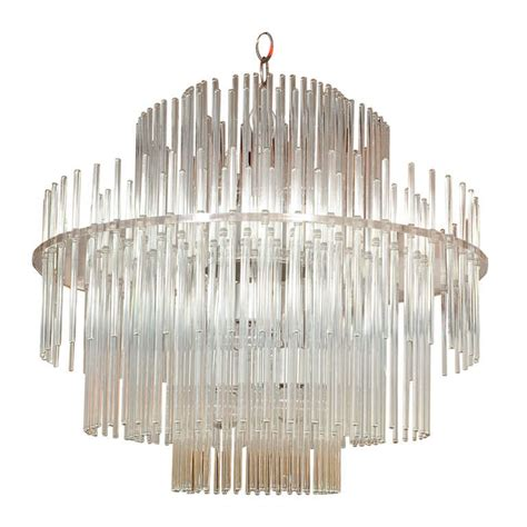 Glass Rod Chandelier Lightolier Glass Rod And Lucite Chandelier At 1stdibs