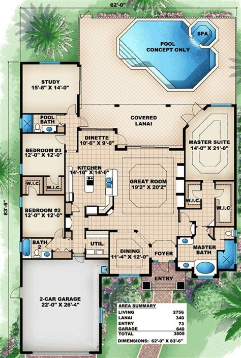 floor plans florida plan 66283we great family home plan 3 car garage